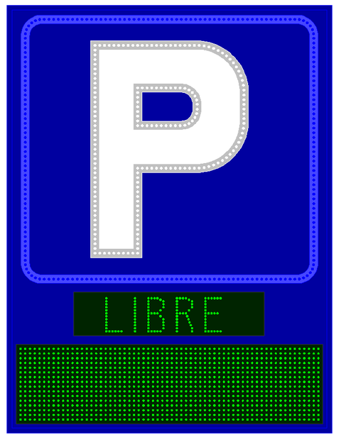 Grupo Empresarial PLAZALED - ROTULO LED ELECTRÓNICO® PARKING MEDIDAS: 1450 X 1100